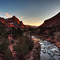Utah - Zion Sunset On The Virgin River 001 by Lance Vaughn
