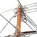 Utility Pole Hung With Electricity Power Cables by Stephan Pietzko