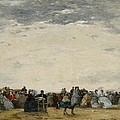 Vacationers On The Beach At Trouville by Eugene Louis Boudin