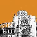 Valencia Skyline Valencia Cathedral - Dark Orange by DB Artist