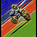 Valentino Rossi Wheely Down The Blue Red And Green by Blake Richards