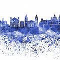 Valletta Skyline In Blue Watercolor On White Background by Pablo Romero