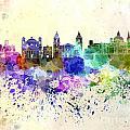 Valletta Skyline In Watercolor Background by Pablo Romero