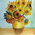 van Gogh Sunflowers in watercolor by Donna Walsh