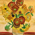 van Gogh's Sunflowers in Watercolor by Donna Walsh