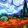 Van Goghs Wheat Field With Cypress by Genevieve Esson