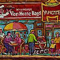 Van Horne Bagel With Yangtze Restaurant Montreal Street Scene by Carole Spandau