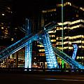 Vancouver - 2010 Olympic Cauldron Lit At Night by Georgia Mizuleva