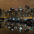 Vancouver Bc Skyline From Stanley Park At Nigh by Jit Lim