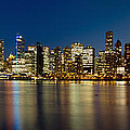 Vancouver Bc Skyline From Stanley Park During Blue Hour by Jit Lim