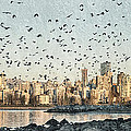 Vancouver Skyline With Crows by Peter v Quenter