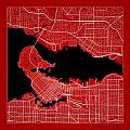 Vancouver Street Map - Vancouver Canada Road Map Art On Color by Jurq Studio