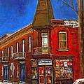 Vanishing Montreal Landmark Depanneur Ste. Emilie And Bourget Montreal Painting By Carole Spandau  by Carole Spandau