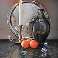 Vanitas Still Life By Candlelight With Clementines 1 by Carolyn Coffey Wallace