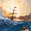 Vasco Da Gama's Ships Rounding The Cape by English School