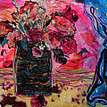 Vase And Blue Curtain by Diane Fine