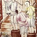 Vase Depicting Men Packing Tea by Everett