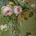 Vase Of Flowers On A Table by Michel Bellange