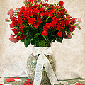 Vase Of Red Roses by Lena Auxier