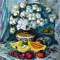 Vase With A Cotton Branch by Lyubov Jiboedova