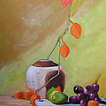 Vase With Orange Leaves And Fruit by Scott Bowlinger