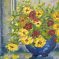 Vase With Yellow Flowers by Maria Karalyos