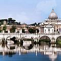 Vatican City Seen From Tiber River by Elaine Plesser