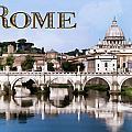 Vatican City Seen From Tiber River Text  Rome by Elaine Plesser