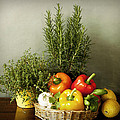 Vegetables And Aromatic Herbs In The Kitchen by Luisa Vallon Fumi