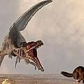 Velociraptor Chasing Small Mammal by Daniel Eskridge