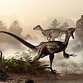 Velociraptors Prowling The Shoreline by Daniel Eskridge