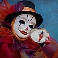 Venetian Carnival - Portrait Of Clown With Mask by Zina Zinchik
