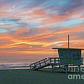 Venice Beach Lifeguard Station Sunset by David Zanzinger