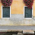 Venice Canal Shutters With Window Flowers by Robyn Saunders