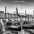 Venice Grand Canal And Goldolas In Black And White by Melanie Viola