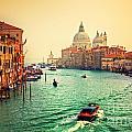 Venice Italy Grand Canal And Basilica Santa Maria Della Salute At Sunset by Michal Bednarek