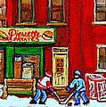Verdun Art Winter Street Scenes Pierrette Patates Resto Hockey Painting Verdun Montreal Memories by Carole Spandau