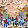Verdun Back Lane Hockey Practice Montreal Winter City Scen Painting Carole Spandau by Carole Spandau