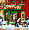 Verdun Hockey Game Corner Landmark Restaurant Depanneur Pierrette Patate Winter Montreal City Scen by Carole Spandau