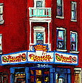 Verdun Landmarks Pierrette Patates Resto Cafe  Deli Hot Dog Joint- Historic Marquees -montreal Scene by Carole Spandau