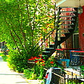 Verdun Stairs Red Flowers On Winding Staircase Tall Shade Tree Montreal Summer Scenes Carole Spandau by Carole Spandau