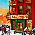 Verdun Street Hockey Pierrettes Restaurant Rue 3900 Verdun -landmark Montreal Hockey Art Work Scenes by Carole Spandau
