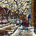 Verdun Winter Row Houses In January Montreal Paintings Time For A Walk Carole Spandau by Carole Spandau