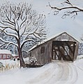 Vermont Covered Bridge In Winter by Donna Walsh