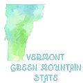 Vermont - Green Mountain State - Map - State Phrase - Geology by Andee Design
