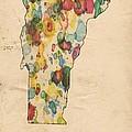 Vermont Map Vintage Watercolor by Florian Rodarte