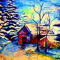 Vermont Winterscene In Blues By Montreal Streetscene Artist Carole Spandau by Carole Spandau