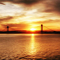 Verrazano Bridge At Sunset by Boris Mordukhayev