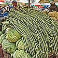 Very Long String Beans In Mangal Bazaar In Patan-nepal by Ruth Hager