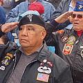 Veterans Saluting Passing Flag In A Parade Sacaton Arizona 2005-2013 by David Lee Guss